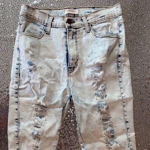 Dye Dye distressed Thigh shorts